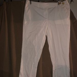 Tory Burch white cotton cropped summer pants 4